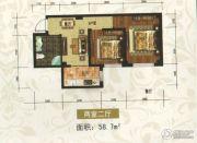 东方・新湖俪城2室2厅1卫58平方米户型图