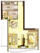 万科里享水韵1室2厅1卫58平方米户型图