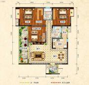 中央绿洲3室2厅2卫120平方米户型图