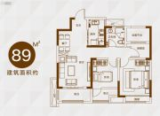 信达天御2室2厅1卫89平方米户型图