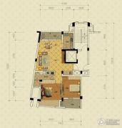 绿城蔚蓝公寓2室2厅1卫98平方米户型图