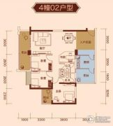 中凯华庭2室2厅2卫101平方米户型图