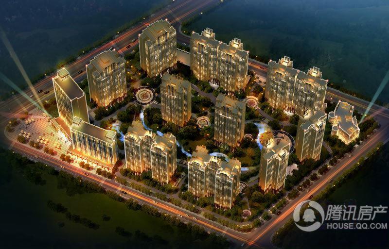 领馆国际城鸟瞰夜景图