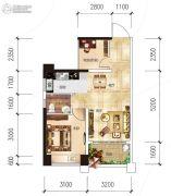 越亚天赐良园2室2厅1卫54平方米户型图