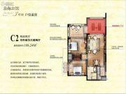 东和福湾2室2厅1卫108平方米户型图