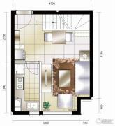 华业东方玫瑰1室2厅1卫55平方米户型图