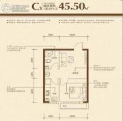艺豪・鑫隆湾1室2厅1卫45平方米户型图