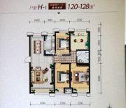 大庆国际金融中心4室2厅1卫120--128平方米户型图