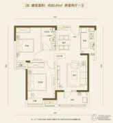 万科金色城市2室2厅1卫80--81平方米户型图