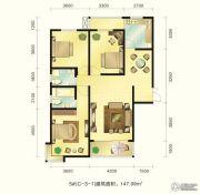 新元绿洲3室2厅2卫140--150平方米户型图