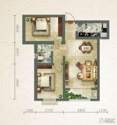 绿朗时光2室2厅1卫91平方米户型图