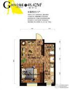 巴塞罗那1室1厅1卫48平方米户型图