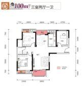 光谷悦城3室2厅1卫100平方米户型图