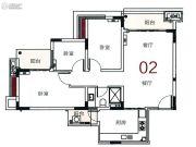 宝华轩3室2厅1卫100平方米户型图