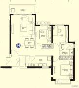恒大名都3室2厅1卫109--110平方米户型图