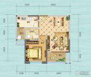 财信沙滨城市1室2厅1卫45平方米户型图