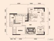 北麓国际城1室2厅1卫38平方米户型图