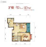 西安深国投中心1室2厅1卫55平方米户型图