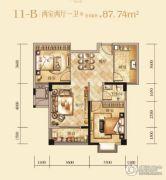 江天・凤凰山庄2室2厅1卫87平方米户型图