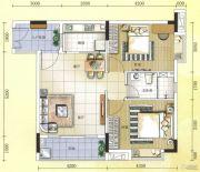元邦明月水岸2室2厅1卫82平方米户型图