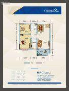 鸿都・英伦星海湾2室2厅1卫82平方米户型图