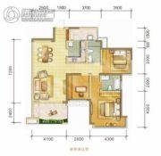 中海右岸3室2厅2卫107平方米户型图