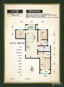 鑫界9号院3室2厅2卫108平方米户型图