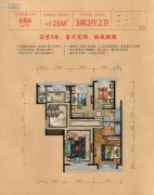 丽景中央城3室2厅2卫125平方米户型图