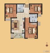 香榭丽都3室1厅1卫92平方米户型图