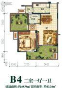 横山观岭2室1厅1卫49平方米户型图