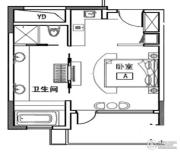 万科双月湾1室0厅1卫56平方米户型图