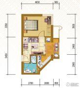 仁恒国际领寓1室2厅1卫48平方米户型图