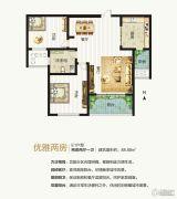 建业桂园2室2厅1卫88平方米户型图