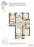 林荫大院3室2厅2卫125平方米户型图