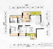 云顶澜山3室2厅2卫95平方米户型图