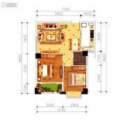 磁湖南郡2室2厅1卫69平方米户型图