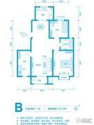 水钢琴3室2厅1卫111平方米户型图