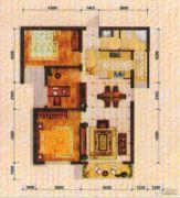东方夏威夷3室2厅1卫102平方米户型图