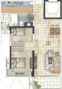 蓝光林肯公园2室2厅1卫89平方米户型图
