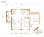 海亮国际社区2室2厅1卫80--81平方米户型图