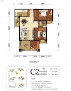 海赋长兴二期奥林阳光公园3室2厅1卫87平方米户型图