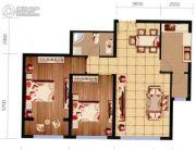 祥泰广场2室2厅1卫91平方米户型图