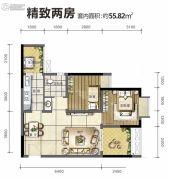 旭阳台北城2室2厅1卫55平方米户型图