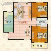 富泰城2室2厅1卫88--90平方米户型图