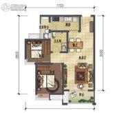 龙湖时代天街2室2厅1卫71平方米户型图