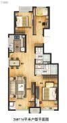 万科城3室2厅1卫116平方米户型图