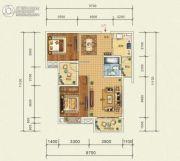 宜化・巴黎香颂2室2厅1卫96平方米户型图