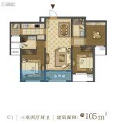 中国铁建・西派国际3室2厅2卫105平方米户型图