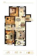 天山��玺3室2厅1卫105平方米户型图