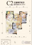 恒邦・时代青江二期3室2厅2卫85平方米户型图